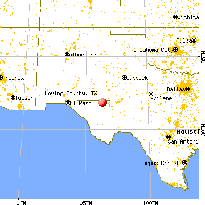 Loving County, TX map from a distance