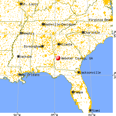 Webster County, GA map from a distance