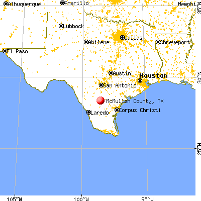 McMullen County, TX map from a distance