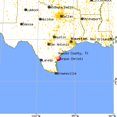 Nueces County, TX map from a distance