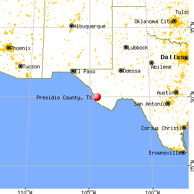 Presidio County, TX map from a distance