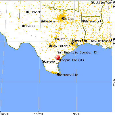 San Patricio County, TX map from a distance