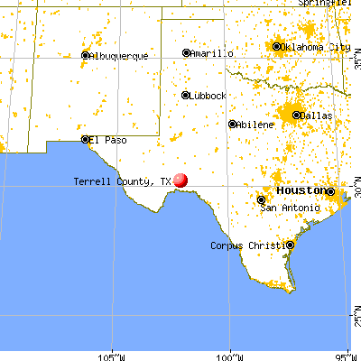Terrell County, TX map from a distance