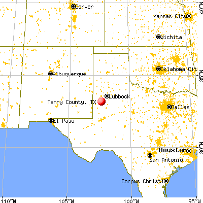 Terry County, TX map from a distance