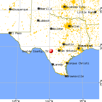 Uvalde County, TX map from a distance