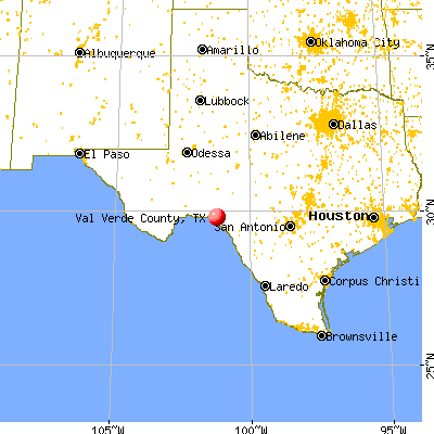 Val Verde County, TX map from a distance