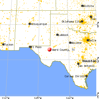 Ward County, TX map from a distance