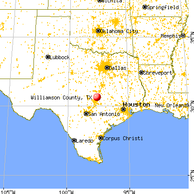 Williamson County, TX map from a distance