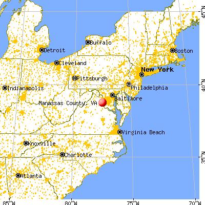 Manassas city, VA map from a distance