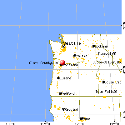 Clark County, WA map from a distance