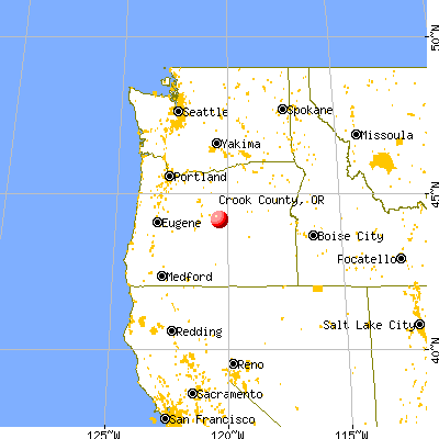 Crook County, OR map from a distance