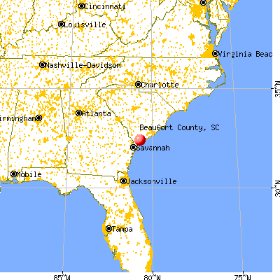 Beaufort County, SC map from a distance