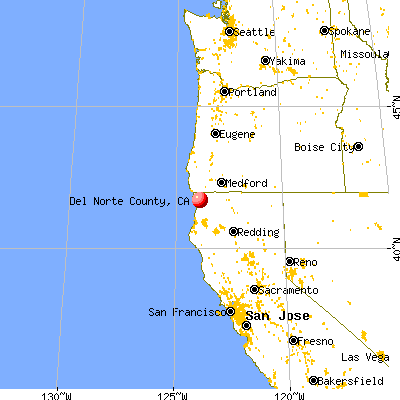 Del Norte County, CA map from a distance