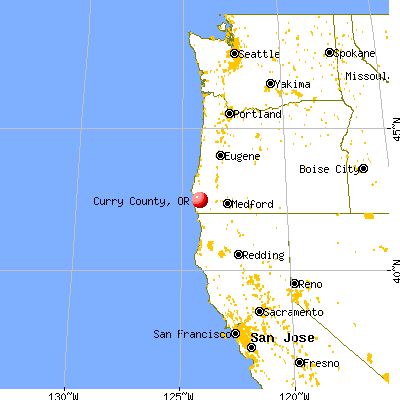 Curry County, OR map from a distance