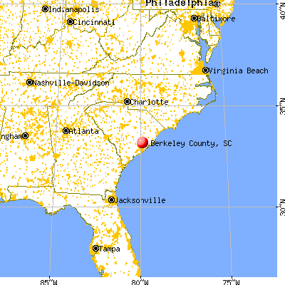 Berkeley County, SC map from a distance