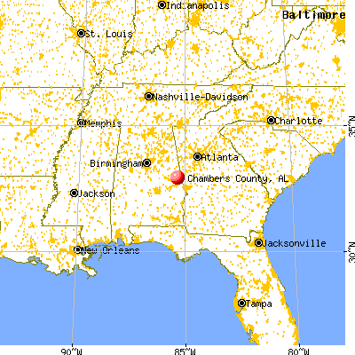 Chambers County, AL map from a distance