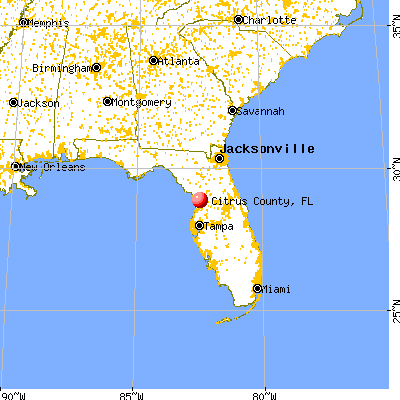 Citrus County, FL map from a distance