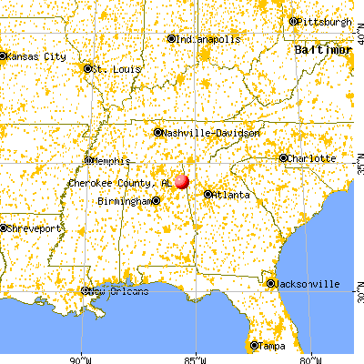 Cherokee County, AL map from a distance