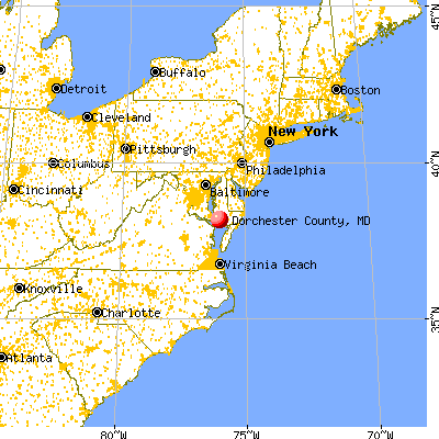 Dorchester County, MD map from a distance