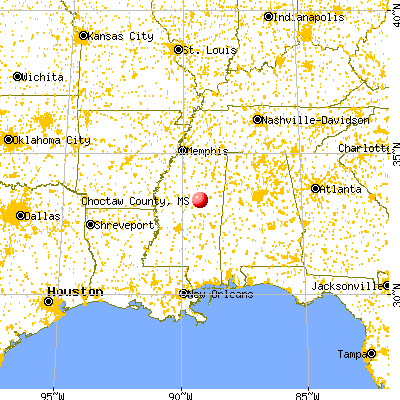 Choctaw County, MS map from a distance