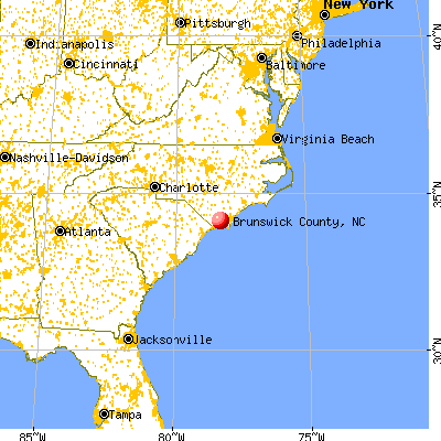 Brunswick County, NC map from a distance