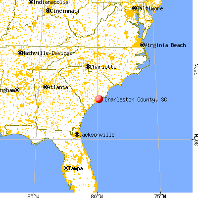 Charleston County, SC map from a distance