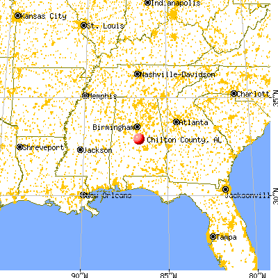 Chilton County, AL map from a distance