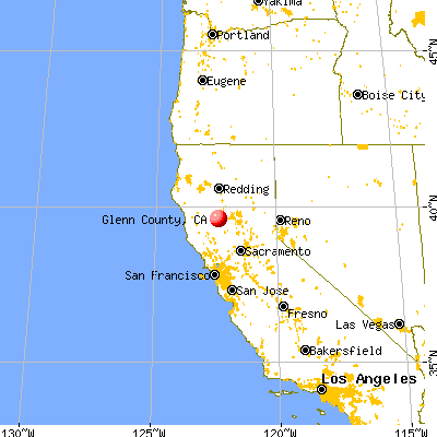 Glenn County, CA map from a distance