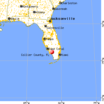 Collier County, FL map from a distance