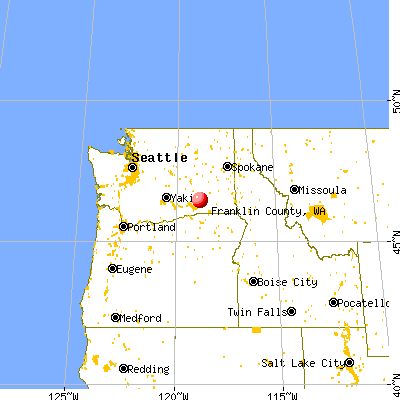 Franklin County, WA map from a distance