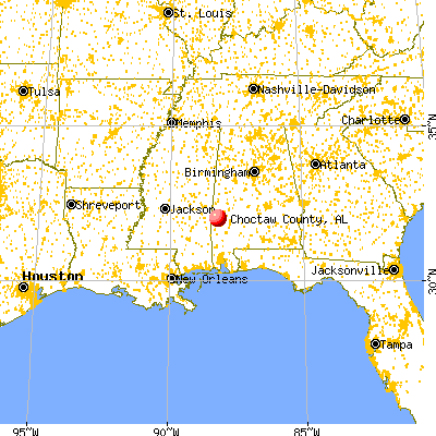 Choctaw County, AL map from a distance