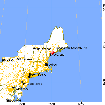 Sagadahoc County, ME map from a distance