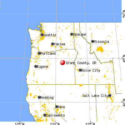 Grant County, OR map from a distance