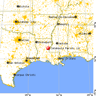 Catahoula Parish, LA map from a distance
