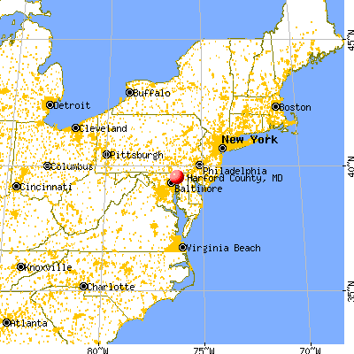 Harford County, MD map from a distance