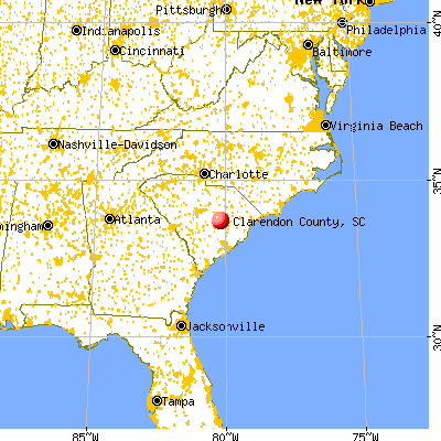 Clarendon County, SC map from a distance