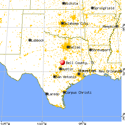 Bell County, TX map from a distance