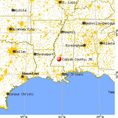 Copiah County, MS map from a distance