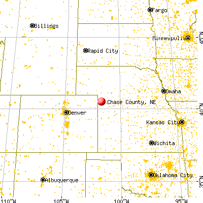 Chase County, NE map from a distance