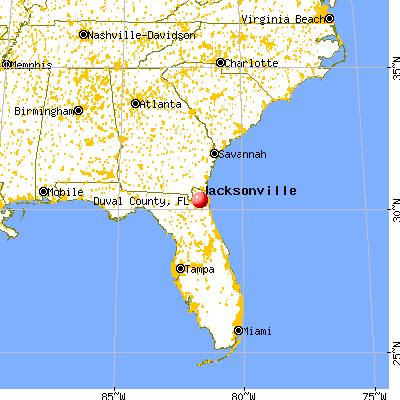 Duval County, FL map from a distance