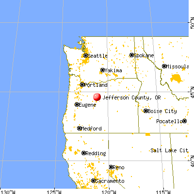 Jefferson County, OR map from a distance