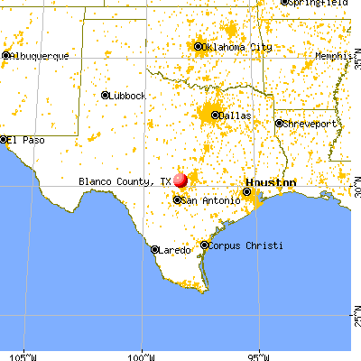 Blanco County, TX map from a distance