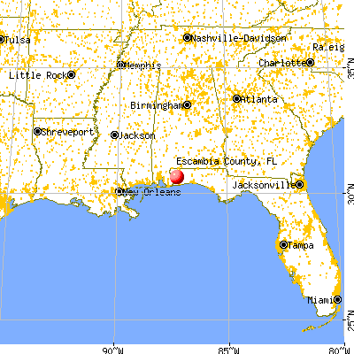 Escambia County, FL map from a distance