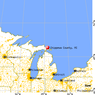 Chippewa County, MI map from a distance