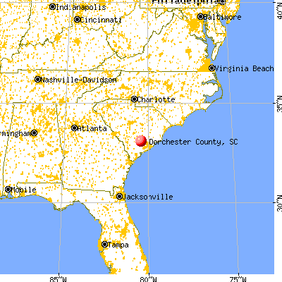 Dorchester County, SC map from a distance