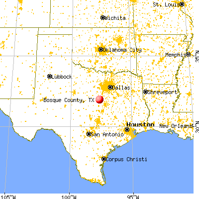 Bosque County, TX map from a distance