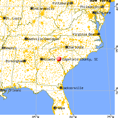 Edgefield County, SC map from a distance