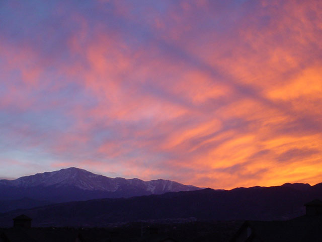 Colorado Springs, CO: Pikes Peak during Sunset