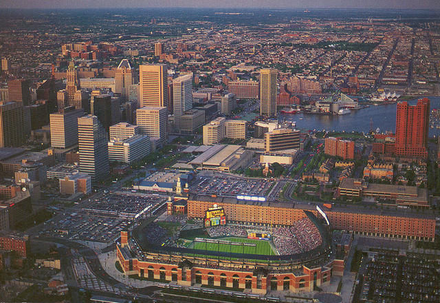 Baltimore, MD: Downtown and Camden Yards from the Air