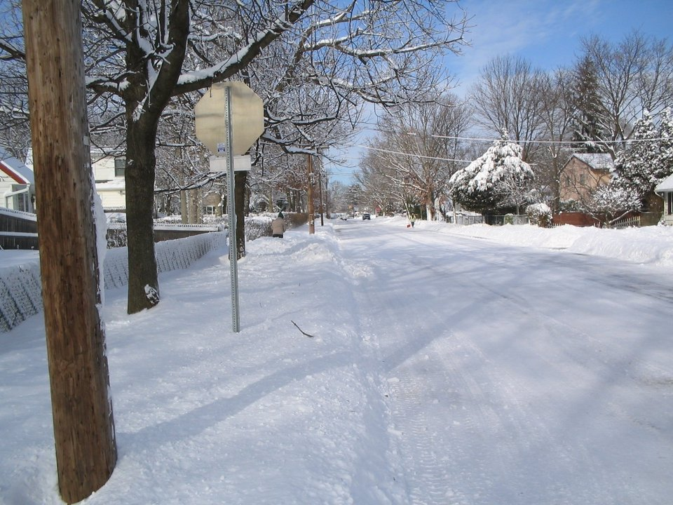 North Babylon, NY : A snowed down road right off my own street during 2005